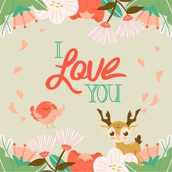 Kocham cię wiadomość z motywem kwiatowym