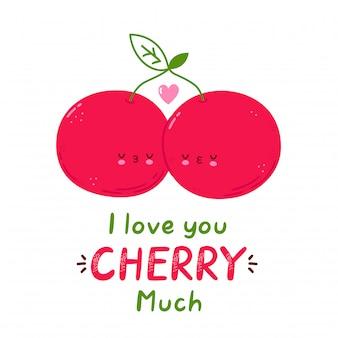 Kocham cię wiśnia bardzo karta. śliczna szczęśliwa para wiśni. na białym tle postać z kreskówki ręcznie rysowane styl ilustracji