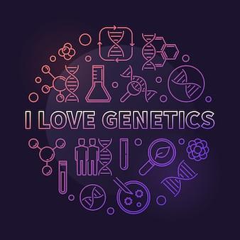 Kocham genetyka wektor kolorowy koncepcja cienka linia okrągły ilustracja na ciemnym tle