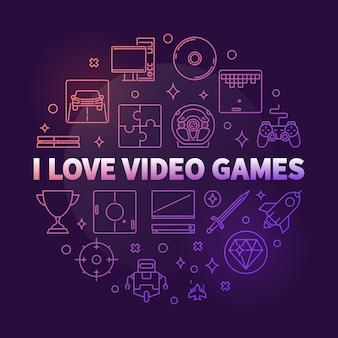 Kocham gry wideo zarys ikony