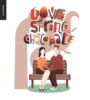 Kocham hasło wiosna czekolada - napis skład i para siedzi na ławce