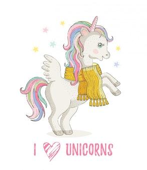 Kocham jednorożce. ładny kucyk jednorożca, koń rysunkowy. magiczne zwierzę w zimowym szaliku. ręcznie rysowane bajki ilustracja na białym tle