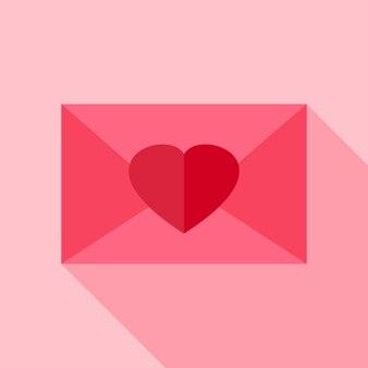 Kocham kopertę z sercem. płaski stylizowany obiekt z długim cieniem