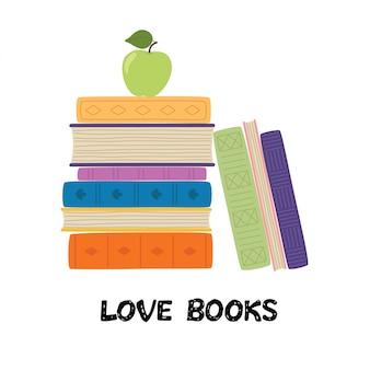 Kocham książki. stos książek z jabłkiem. kupie ilustracji wektorowych książek
