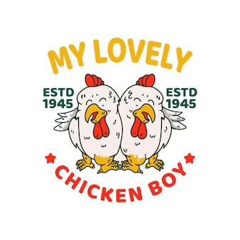 Kocham kurczaka koguta ilustracja postać w stylu vintage