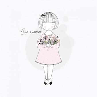 Kocham lato. śliczna mała dziewczynka z kwiatami