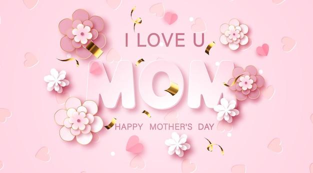 Kocham mamę. kartkę z życzeniami dzień matki z kwiatami