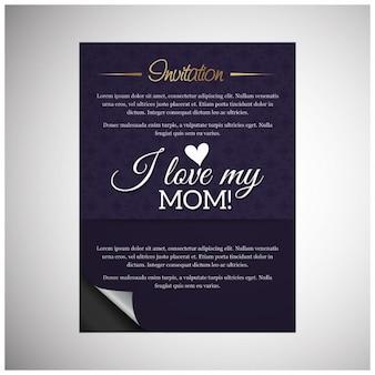 Kocham moją mamę zaproszenie card