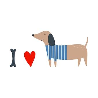 Kocham psy kocham mojego zwierzaka kocham ilustracja wektorowa jamnika w stylu płaski