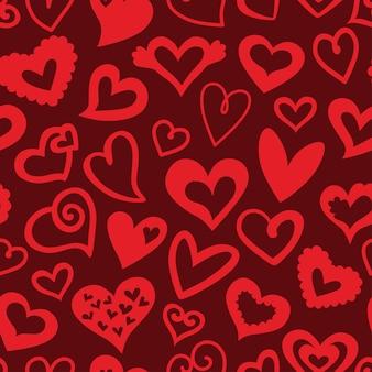 Kocham. romantyczna koncepcja wzór z ozdobnymi sercami. idealny na dekoracje walentynkowe i ślubne