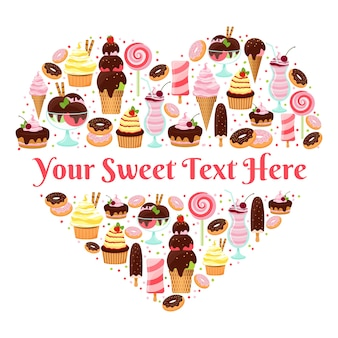 Kocham słodycze wektor wzór w kształcie serca z copyspace dla tekstu utworzonego z kolorowych lodów szkliwionych i mrożonych ciast, ciastek, cukierków i deserów na białym