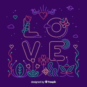Kocham słowo na fioletowym tle w stylu liniowym