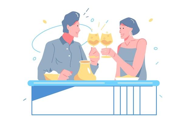 Kochanek świętować datę w ilustracji wektorowych restauracji. mężczyzna i kobieta podnoszą kieliszek z szampanem płaski. walentynki, rocznica, data, koncepcja romantycznej kolacji. na białym tle
