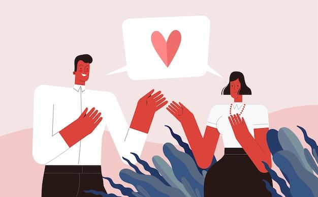 Kochankowie mężczyzna i kobieta deklarują miłość i rozmawiają. na białym tle