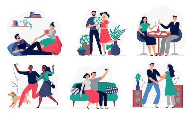 Kochankowie spędzają razem czas. zakochane pary, szczęśliwi ludzie kochają się nawzajem i zestaw ilustracji stylu życia.