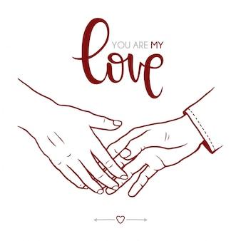 Kochankowie trzyma ręki ilustracyjne
