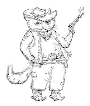 Koci kowboj trzymający rewolwer i ubrany w kapelusz, kamizelkę, buty z ostrogami. vintage wektor wylęgowych monochromatyczne ilustracja na białym tle. ręcznie rysowane element projektu t-shirt
