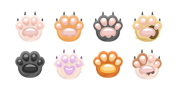 Kocia łapa sztuka wektor kreskówka kot łapa zestaw kocie łapy palce fasola słodki kot kreskówka łapy
