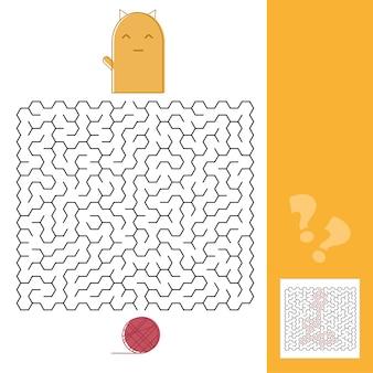 Kociak i wełniana gra labirynt dla dzieci z ilustracją wektorową rozwiązania