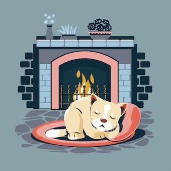 Kociak śpi na owalnym dywaniku przy kominku
