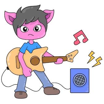 Kociak zespół grający muzykę za pomocą gitary, ilustracji wektorowych sztuki. doodle ikona obrazu kawaii.
