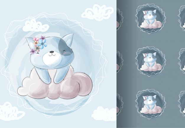 Kocięta zwierząt siedzi na chmurze