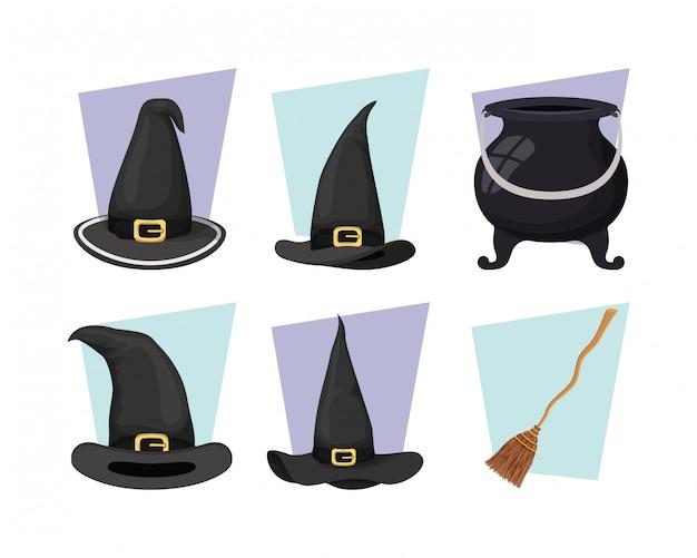 Kocioł czarownicy i kapelusz z ikonami miotły