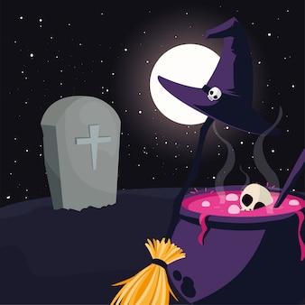 Kociołek wiedźmy na scenie na cmentarzu