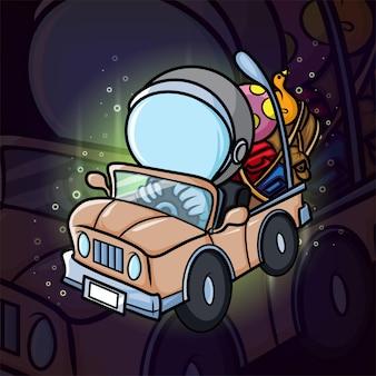 Koczowniczy podróżnik z maskotką e-sportu w hełmie astronauty z ilustracji