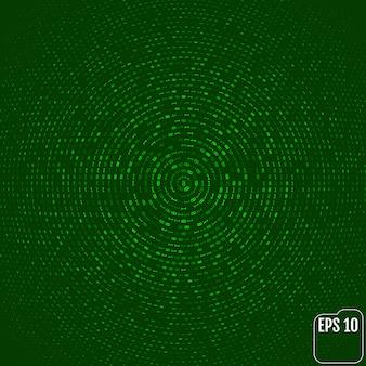 Kod binarny, zielone cyfry na ekranie komputera. okrąg tło cyfr