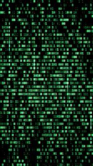 Kod binarny, zielone cyfry na ekranie komputera.