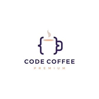 Kod kawy kawiarnia kubek szkło ilustracja logo