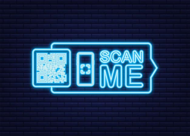 Kod qr dla smartfona. napis zeskanuj mnie ikoną smartfona. kod qr do zapłaty. neonowa ikona. ilustracja wektorowa.