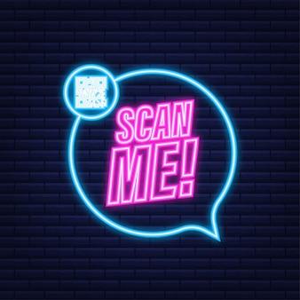 Kod qr dla smartfona. napis zeskanuj mnie ikoną smartfona. neonowa ikona. kod qr do zapłaty. ilustracja wektorowa.