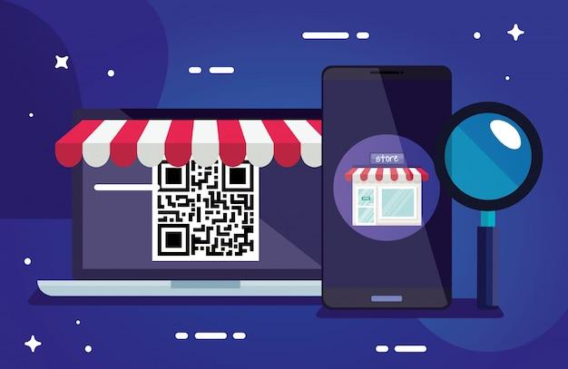 Kod qr laptop laptop i projekt lupe technologii skanowania informacji biznesowych cena komunikacji kodów kreskowych cyfrowych i danych tematu ilustracja wektorowa