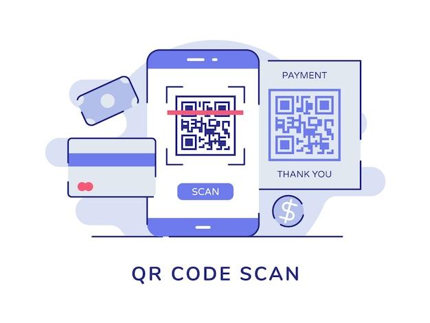 Kod qr skanuje kod kreskowy na ekranie smartfona bank karty pieniądze na białym tle