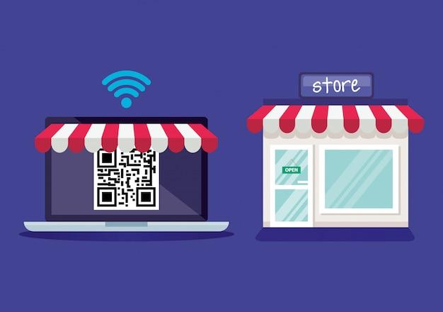 Kod qr wewnątrz laptopa i sklep wektor wzór