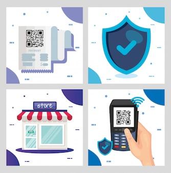 Kod qr wewnątrz sklepu dataphone i projekt osłony technologii skanowania informacji biznesowych cena komunikacji kodów kreskowych cyfrowych i danych tematu ilustracja wektorowa