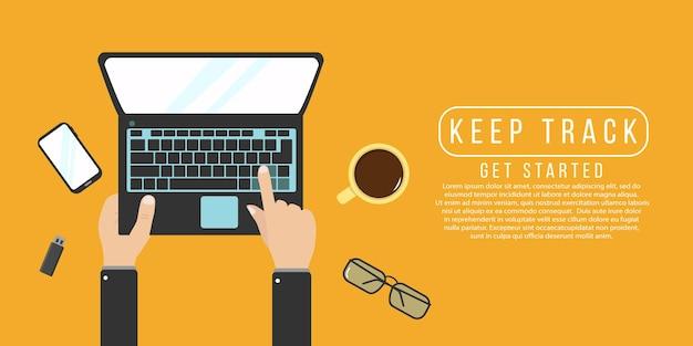 Kodowanie programisty na ilustracji laptopa