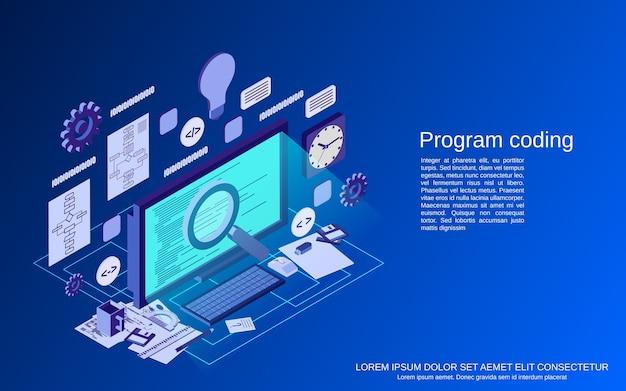 Kodowanie programów, tworzenie aplikacji, koncepcja płaskiego izometrycznego wektora programowania internetowego
