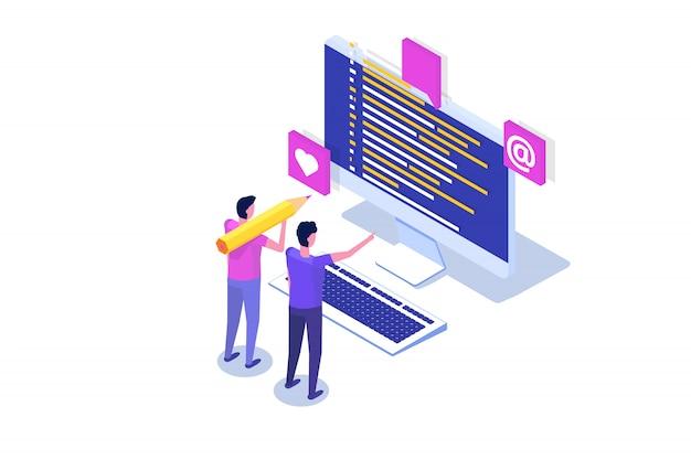 Kodowanie, tworzenie oprogramowania, izometryczna koncepcja programowania, kod programu na ekranie