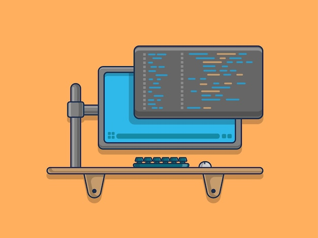 Kodowanie z ilustracją ikony komputera