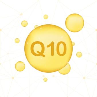 Koenzym q10. ikona olej wektor złoto. enzymowa kapsułka w postaci kropli