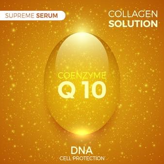 Koenzym. roztwór kolagenu. błyszcząca złota kropla najwyższej serum. opakowania produktów kosmetycznych. ilustracja.