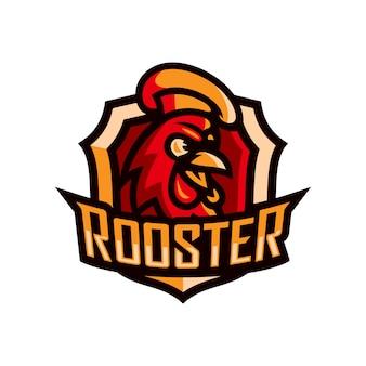 Kogut głowa maskotka logo szablon esport ilustracji wektorowych