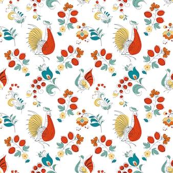Kogut i kwiaty w stylu rosyjskim