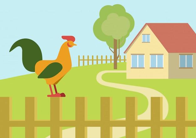 Kogut kogut na płocie gospodarstwa płaska kreskówka zwierząt ptaki.