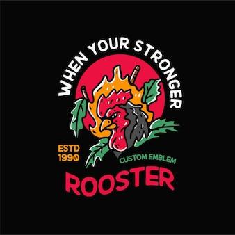 Kogut kurczak ilustracja vintage dla tshirt