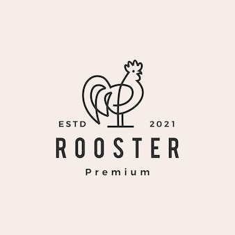 Kogut monoline zarys hipster vintage logo
