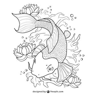 Koi ryb art wektor linii